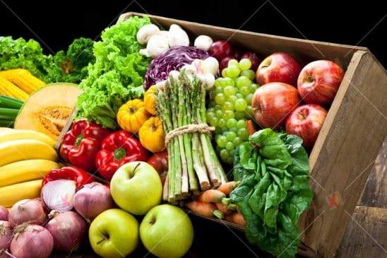تصویر با کیفیت سبد میوه و سبزیجات fruits and vegetable high resolution picture